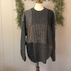 EDDIE BAUER Chunky Grandpa Patchwork Sweater XL